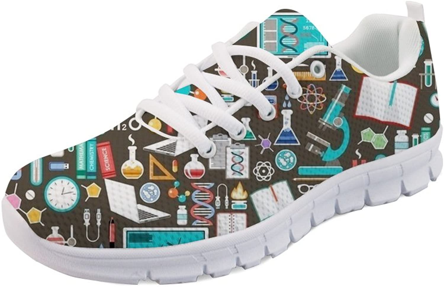 FOR U DESIGNS Women Men Mesh Breathable Sneakers Casual Walking Laces Tie-up shoes Cartoon Printed Flats
