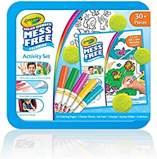 Crayola Color Wonder Mess Free Coloring Activity Set, Animals Arts & Crafts Gift for Kids & Toddlers 3 & Up, No Mess Markers, Stamps, Stickers & Coloring Pages, 30+Piece