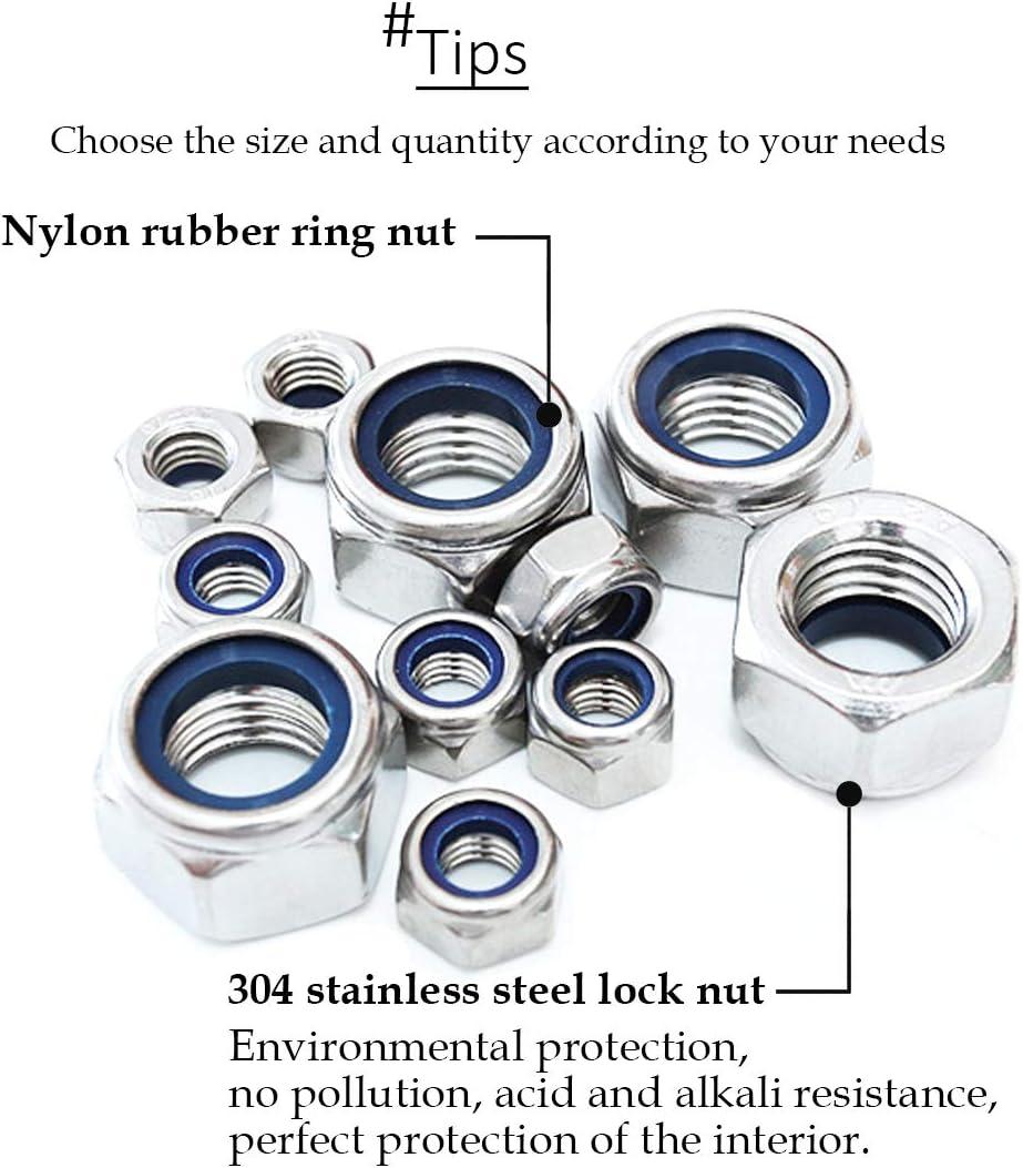 LINVINC 100 Pieces Lock Nuts Stainless Steel Locknut M5 x 100 Pieces M3 M4 M5 M6 Nylon Insert Hex Nut Set Locking Nuts