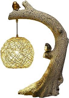 Lámpara de mesa de noche Birds Homing - Lámpara decorativa de poliresina natural perfecta, mesas con brazos, estantería, al lado de la cama, chimenea de chimenea, cabaña estilo cabaña Lámparas de noch
