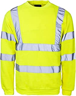 DigitalSpot Mens Work Wear Hi Visibility Top Reflective Tape Shirt Adults Safety Works Neon Stripes Top