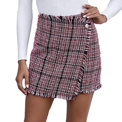 Falda Acampanada Sexy Casual para Mujer, Cremallera de Cintura Alta/Media/Minifalda Ajustada de un Solo Pecho, Falda Corta de Tweed con Dobladillo Cruzado (D1, S)