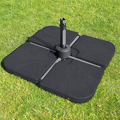 ROSE GARDEN Patio Umbrella Base Plate Set Umbrella Base Sand Filled Set Pack of 4 Square Black