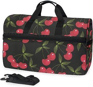 MONTOJ Reisetasche, Übergröße, aus Segeltuch, mit rotem Kirsch-Muster