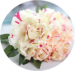 5 Heads Artificial Flower Peony Bridal Bouquet Silk Flower for DIY Home Party Decor with Green Leaf Natural 8