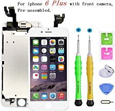 Screen Replacement Compatible with iPhone 6 Plus Full Assembly - LCD Touch Display Digitizer with Sensors and Front Camera, Fit Compatible with iPhone 6 Plus (White)