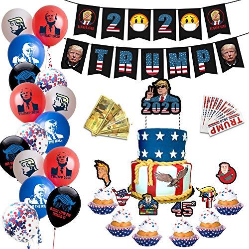 Boyigog Trum.p Party Dekoration, Wahlthema Party Supplies, 2020 US-Wahlpartei Dekorationen - inkl. Wahlthema Brief Banner, Bunt Luftballons, Cake Topper, Aufkleber, Gedenkmünzen