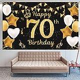 Extra Lange Banner für 70. Geburtstag Dekoration Schwarzes