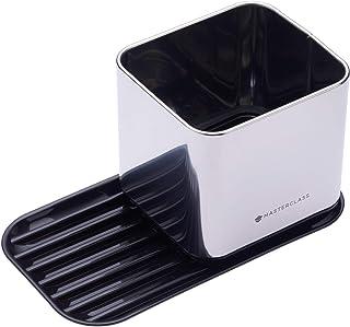 Organizador de fregadero de cocina MasterClass con soporte de esponja y soporte para cepillos, plateado/negro, 20 x 11 x 11 cm