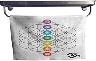 alisoso Sacred Geometry Popular Sports Towel Set Chakra Points in Vintage Concentric Rings of Partial Circle Zen Theme Image Yoga Hand Towels Set W 10 x L 10 Multicolor