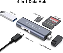 USB Type C Card Reader for Phone, 4-Port SD Card OTG Adapter with SD & TF Card Slots USB 3.0 Port USB C Data Port, Compatible with MacBook Samsung Huawei Type C Laptops Tablets OTG Phones