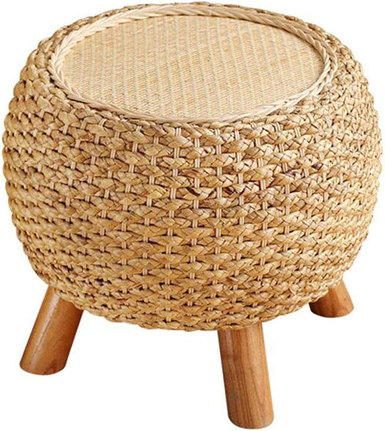 HQCC Home Fashion Rattan Stool Solid Wood shoes Bench