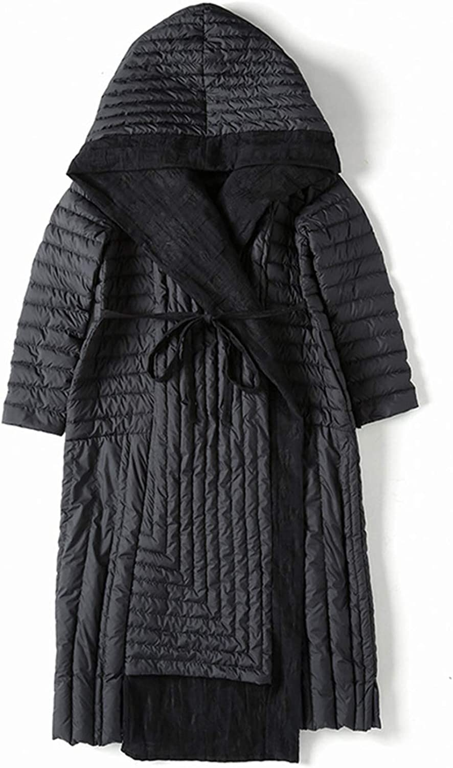 Lightweight Women's Down Jacket Over Sized Long Autumn Winter Coat with Hood Ideal for Autumn Winter Daily Wear,Black
