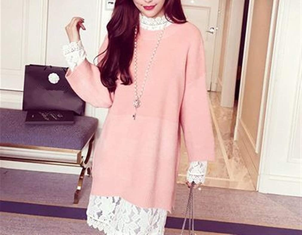 懐疑論すずめ騙すDSJTCH マタニティ春秋服セットファッション妊娠中の女性のドレススーツ長袖レースドレスプラスサイズセーター甘いです (Color : Pink sweater lace, Maternity Size : X-Large)