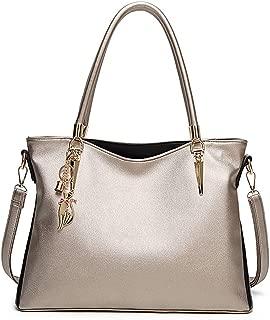 Tote Tassel Shoulder Bag, Women's Genuine Leather Purses Handbags, Cowhide Large Capacity Purse Top Handle Bags,Gold