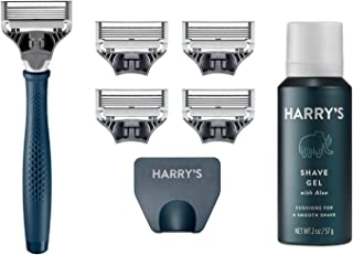 Harry's Razors for Men - Men's Razor Set with 5 Razor Blade Refills, Travel Blade Cover, 2 oz Shave Gel (Navy Blue)