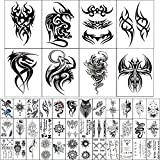 45 Sheets Temporary Tattoo Stickers (Include 8 Sheets Large Tribal Totem Tattoo Stickers), Black Large Body Art Makeup Fake Tattoo Waterproof Removable (Pattern4)
