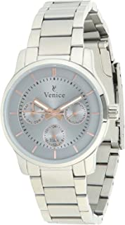 Venice F5016-IPS-GR Stainless Steel Round Analog Watch for Women - Silver