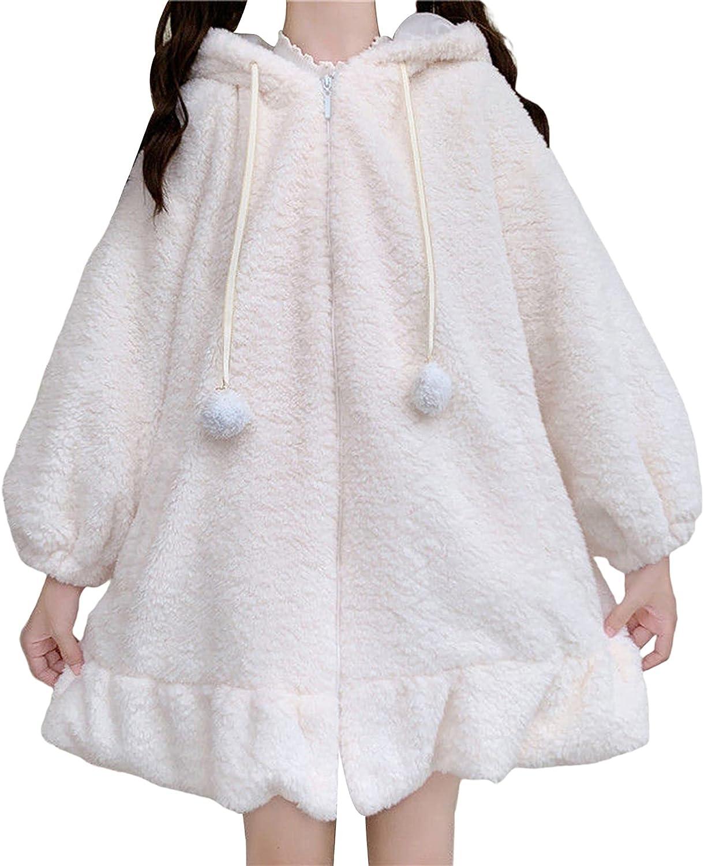 Women Fleece Jacket Long Sleeve Zip Up Sweatshirt Cosplay Cute Bunny Ear Fluffy Fuzzy Coat with Hood