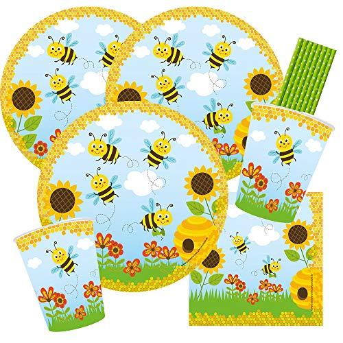 44-teiliges Party-Set Freche Bienen - Teller Becher Servietten Trinkhalme für 8 Kinder