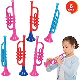 ArtCreativity 13 Inch Plastic Trumpets, Set of 6, Music Toys for Kids and Toddlers, Fun Musical Instruments Noise Makers for Parties and Events, Cool Birthday Party Favors for Boys, Girls, Adults