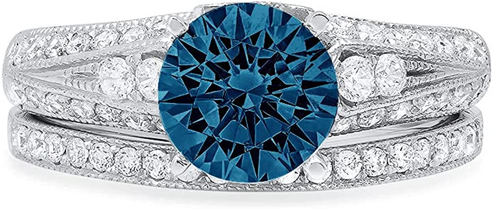 2.10ct Round Cut Pave Solitaire Accent Natural London Blue Topaz Engagement Promise Statement Anniversary Bridal Wedding Ring Band set Real Solid 14k White Gold