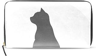 旅立の店 長財布 人気 レディース メンズ 大容量多機能 二つ折り ラウンドファスナー PUレザー  猫のシルエット プリント ウォレット