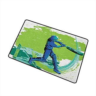 Sports Front Door mat Carpet Cricket Player Pitching Win Game Champion Team Paintbrush Effect Machine Washable Door mat W19.7 x L31.5 Inch Navy Blue Turquoise Lime Green