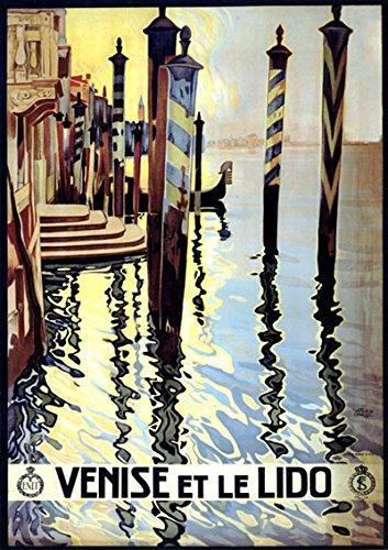 "Venice Venise Gondola Italy 12"" X 16"" Image Size Vintage Travel Poster Reproduction"