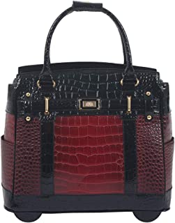 Baton Rouge Burgundy & Black Alligator Computer iPad Laptop Tablet Rolling Tote Bag Briefcase Carryall Bag