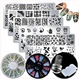 Nail Stamping Plate Kit, 5pc Flower Animal Heart Bird Owl Image Nail Art Stamping Plate Template AB Crystal Nail Rhinestone Glitter with Clear Nail Stamper & Scraper (Mixed Design)
