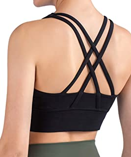 CDCLOTH Women's Strappy Sports Bra Workout Running Yoga Tank Cross Back Wirefree