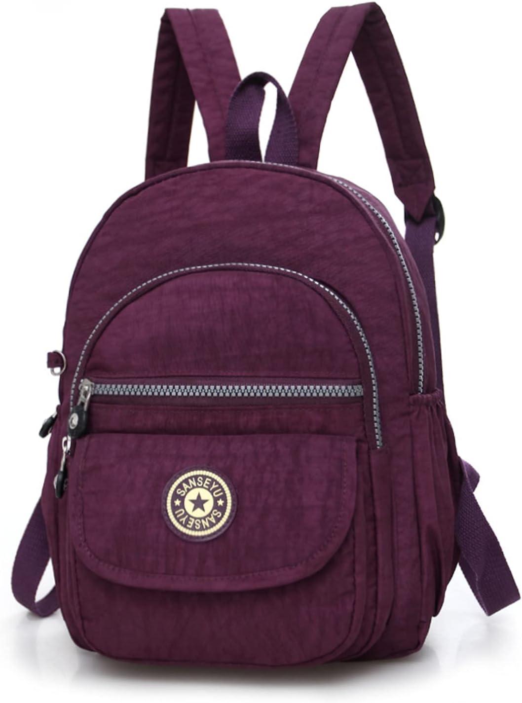 Small Travel Bag Waterproof Mini Backpack Women Purse Nylon Shoulder Rucksack (Dark Purple)