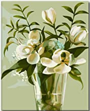 Bhhcr Paint by Numbers Digital Painting Magnolia Flower DIY Pictures Oil Painting On Canvas Flower Home Decoration Acrylic Paint(40X50Cm Frameless)