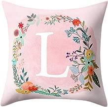 Wenini English Alphabet Pillowcase A-Z Letter Print Flower Throw Pillow Case Cushion Cover for Sofa Home Room Decoration 18 X 18 Inch 45cm x 45cm