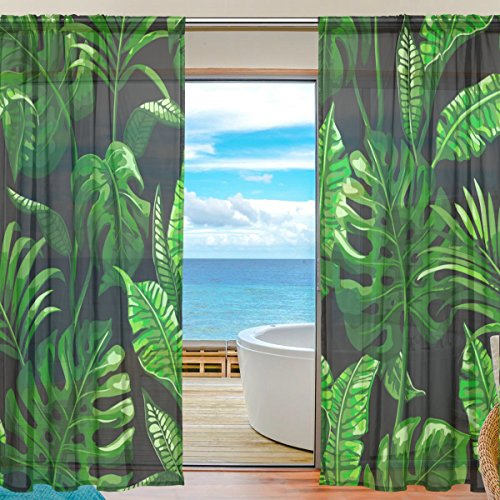 SEULIFE Window Sheer Curtain Tropical Palm Leaves Pattern Print Voile Curtain Drapes for Door Kitchen Living Room Bedroom 55x84 inches 2 Panels