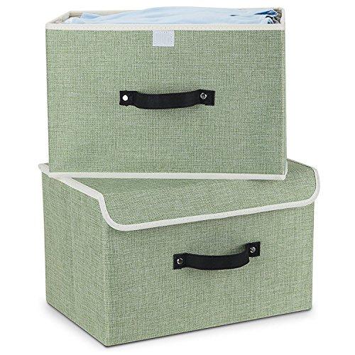 MEE'LIFE Storage Boxes Set DE 2, paniers de Rangement en Tissu de Coton paniers avec Poignées et couvercles Organisation de blanchisserie Pliable conteneur (Vert Clair)
