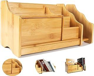 CATEKRO Grande Capacité Boîte de Rangement de Bureau Porte-stylo/Bibliothèque en Bois, 30.5 * 18.5 * 18 cm