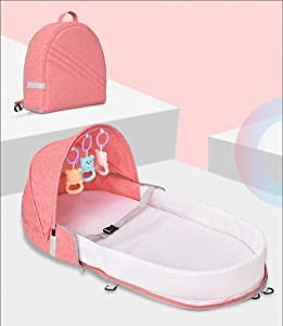 LNDD-2 Baby Lounger Bionic Uterine Sleeping Nest Pods Bumpers Travel Breathable Soft Removable Shower Gift Suitable for Newborn Children Aged 0-1 Pink