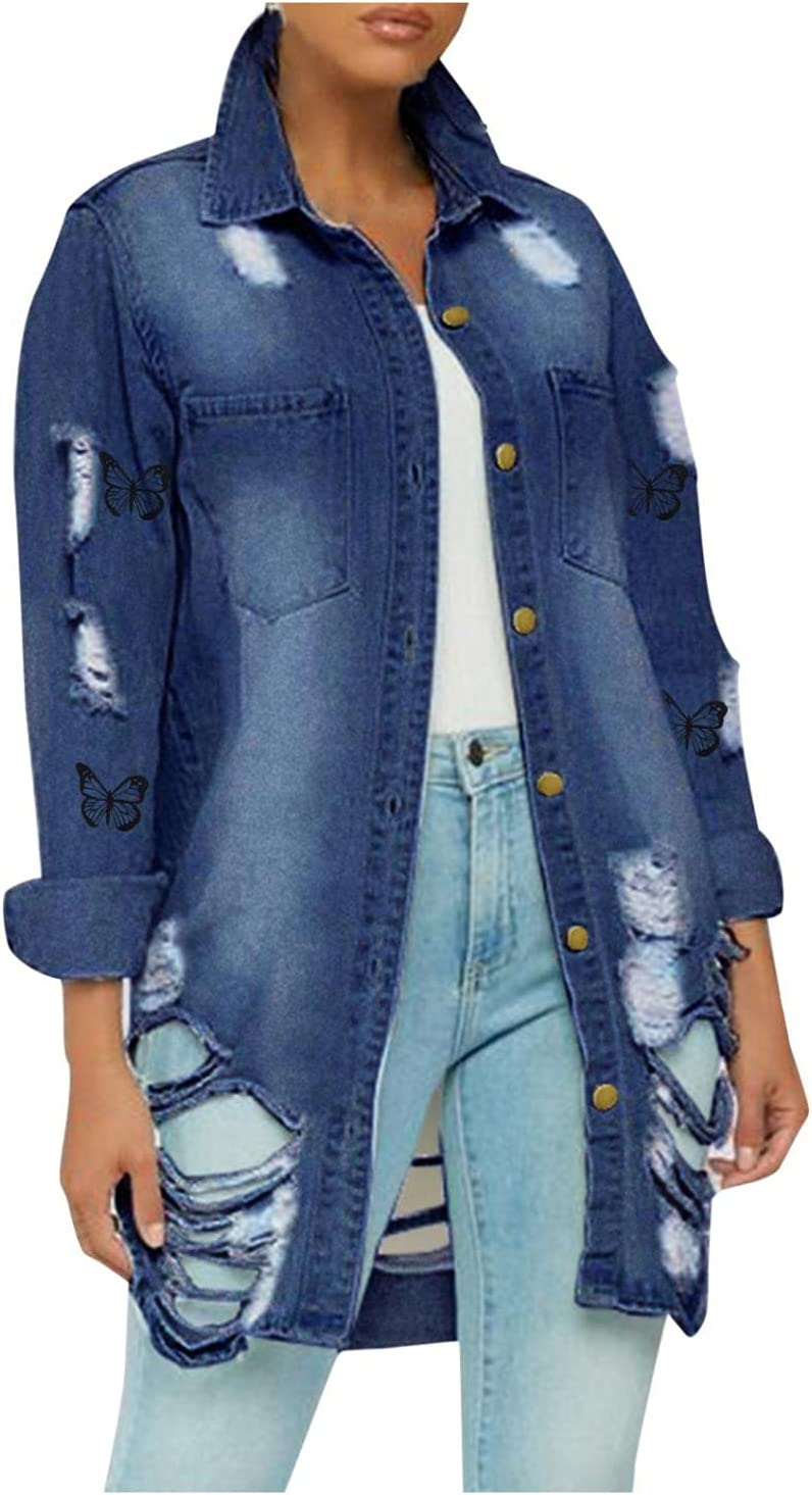 Beauty products Smileyth Womens Ripped Hole favorite Denim Pocket Print Butterfly Jacket