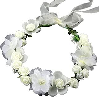 Flower Crown White Girls Headpiece - Floral Headbands Wreath Womens Wedding Bridal Silk