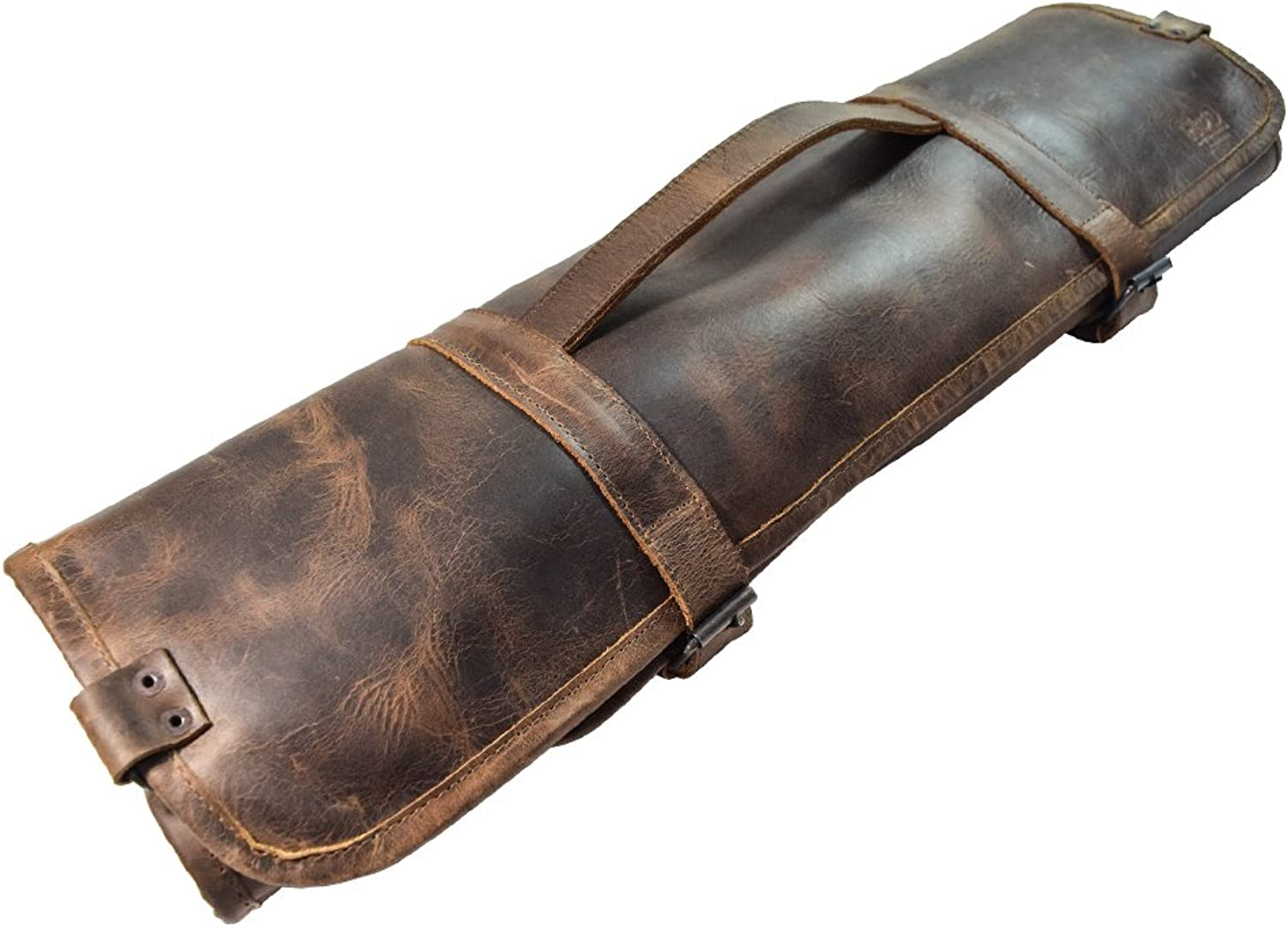 Hide & Drink, Durable Leather Knife Roll with Durable Water Resistant Canvas Lining (8 Pockets) Handmade    Bourbon Brown