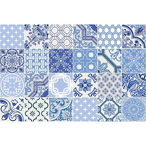 Ambiance-Live 24Aufkleber Fliesen | Sticker Selbstklebend Fliesen–Mosaik Fliesen Wandtattoo Badezimmer und Küche | Fliesen Kleber–AZULEJOS–10x 10cm–24-teilig