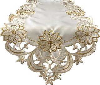 decohomeay Tischwäsche Weihnachtsstern für Weihnachtsdekoration Gold-Stickerei Weihnachtsstern