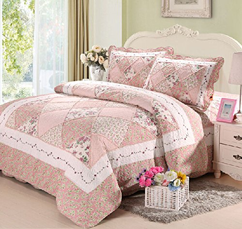 Cooperation 100% Cotton Floral Pink Hue Queen Size Patchwork Quilt Bedding Set 3pc