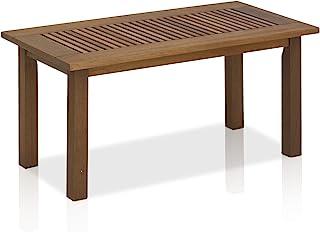 Furinno FG16504 Tioman Hardwood Patio Furniture Outdoor Coffee Table in Teak Oil, 1-Tier, Natural