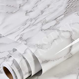DARKSTICK™ White Marble Paper Foil Self Adhesive Removable Waterproof Vinyl Film Matte Paper Gloss Contact Paper Sticky De...