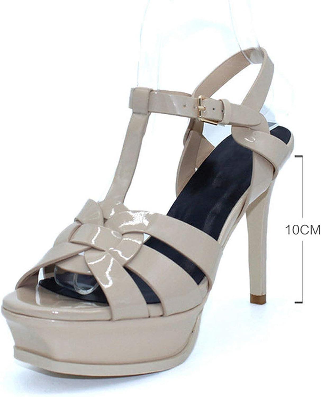 Houfeoans Real läder Sandals kvinnor Super Heel 14 cm Platform Platform Platform Mode kvinnor Footwear  low-key lyxkonflikt
