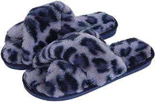 AONEGOLD Pantofole da casa per Donna Invernali Warmer Peluche Ciabatte Croce Morbido Open Toe Pantofole Antiscivolo Elegan...