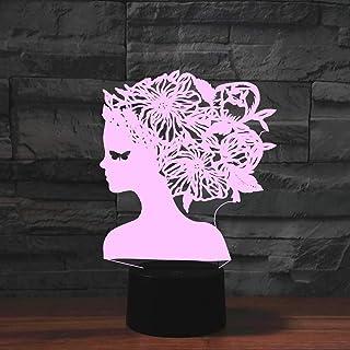 niña de flores Lámpara de ilusión LED 3D con diseño de abeja que trabaja duramente en Navidad dormitorio lámpara de noche de acrílico para habitación de los niños